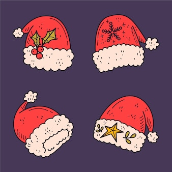 Hand getekend kerstman hoed collectie