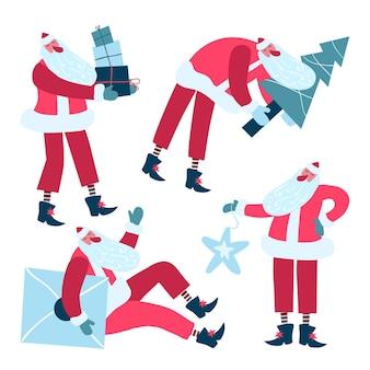 Hand getekend kerstman karakter collectie