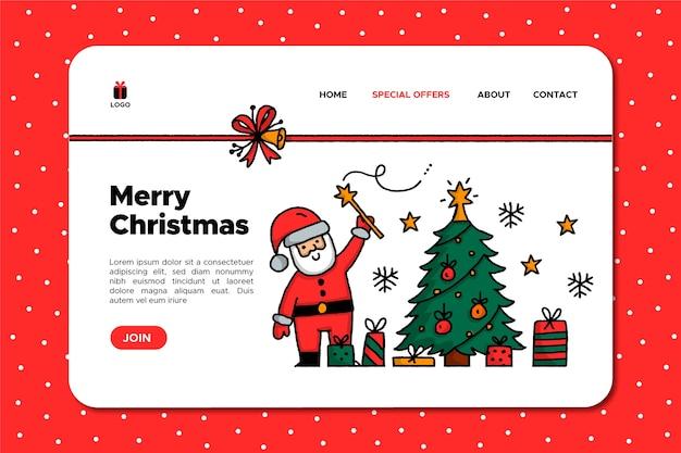 Hand getekend kerstman landing pagina van de kerstman