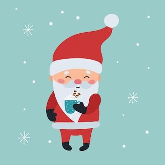 Hand getekend kerstman met warme chocolademelk