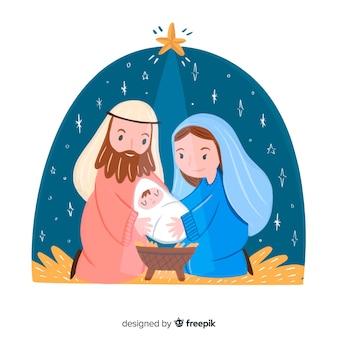 Hand getekend kerstmis kerststal