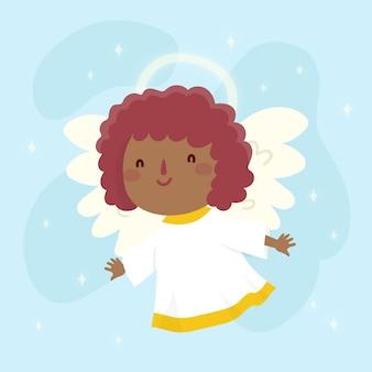Hand getekend kerstmis kleine engel