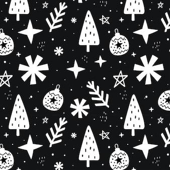 Hand getekend kerstmis naadloos patroon