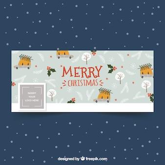 Hand getekend kerstpatroon voor facebook