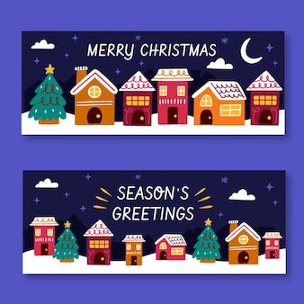 Hand getekend kerststad banners sjabloon