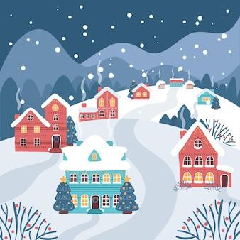 Hand getekend kerststad illustratie 's nachts