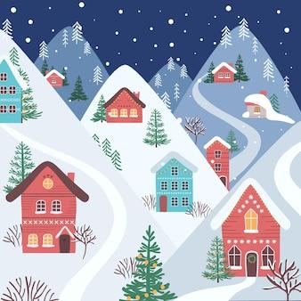 Hand getekend kerststad 's nachts