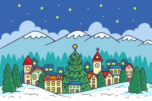 Hand getekend kerststad
