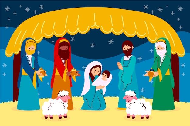 Hand getekend kerststal concept