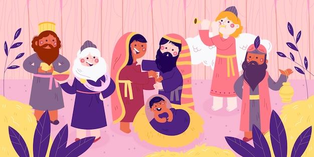 Hand getekend kerststal illustratie