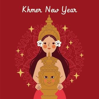 Hand getekend khmer nieuwjaar illustratie