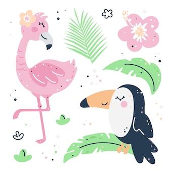 Hand getekend kinderachtig set met flamingo, toekan, bladeren en bloemen