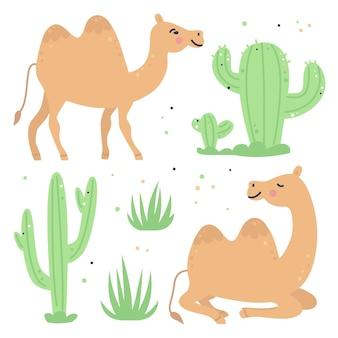 Hand getekend kinderachtig set met kamelen en cactussen