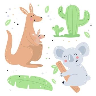 Hand getekend kinderachtig set met kangoeroe, koala en cactus