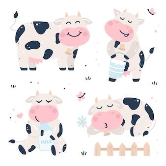 Hand getekend kinderachtig set met koeien en melk