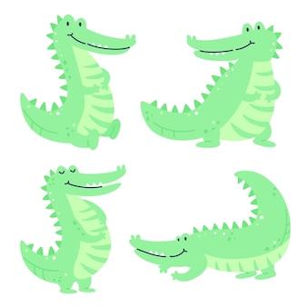 Hand getekend kinderachtig set met krokodillen in verschillende poses