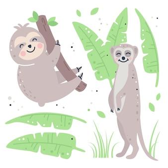 Hand getekend kinderachtig set met luiaard, meerkat en bladeren