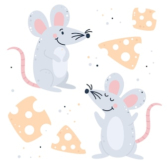 Hand getekend kinderachtig set met muis en kaas