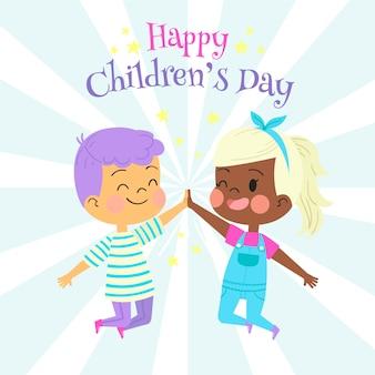 Hand getekend kinderdag met jongen en meisje