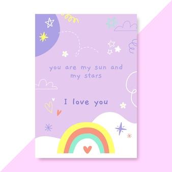 Hand getekend kinderlijke liefdesaffiche