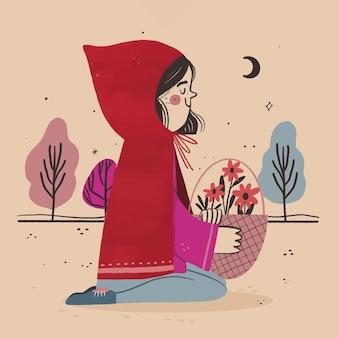 Hand getekend kleine roodkapje illustratie
