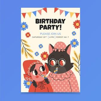 Hand getekend kleine roodkapje verjaardagsuitnodiging