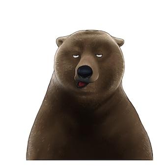 Hand getekend kleur illustratie van beer