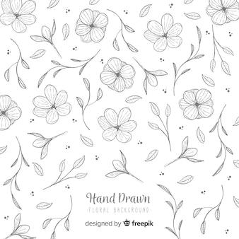 Hand getekend kleurloze bloemen achtergrond