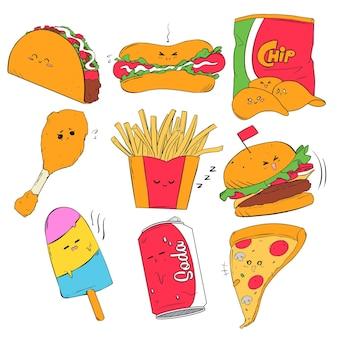Hand getekend kleurrijk junkfood icoon