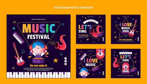Hand getekend kleurrijk muziekfestival ig