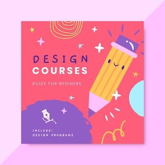 Hand getekend kleurrijk ontwerp cd-hoes