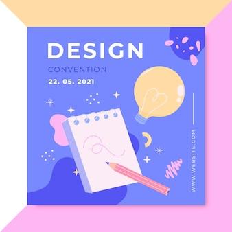 Hand getekend kleurrijk ontwerp instagram post