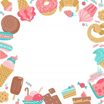 Hand getekend kleurrijk rond frame van zoete snoepjes.
