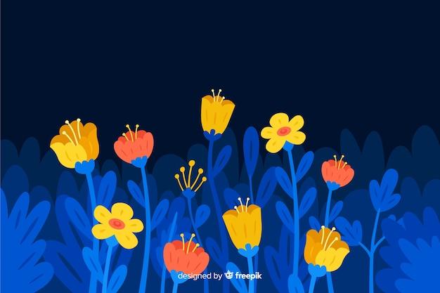 Hand getekend kleurrijke bloemen achtergrond
