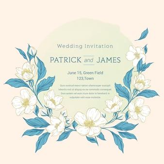 Hand getekend kleurrijke bloemen bruiloft uitnodiging