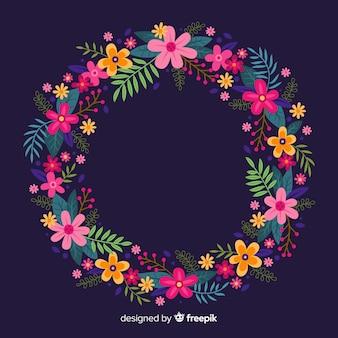 Hand getekend kleurrijke bloemen krans