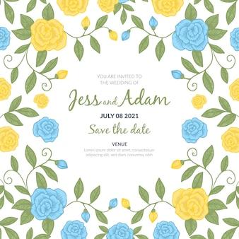 Hand getekend kleurrijke bruiloft uitnodiging
