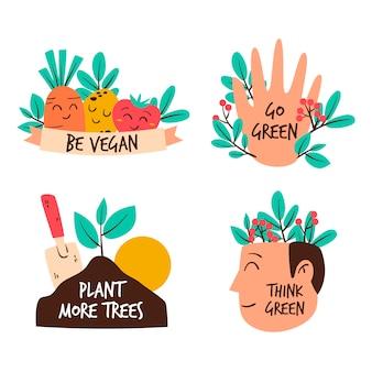 Hand getekend kleurrijke ecologie badges