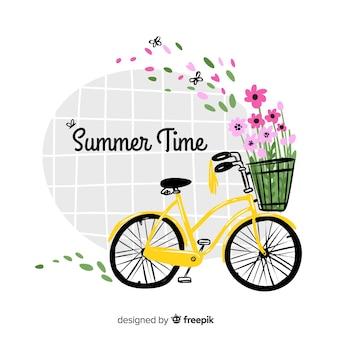 Hand getekend kleurrijke hallo zomer achtergrond