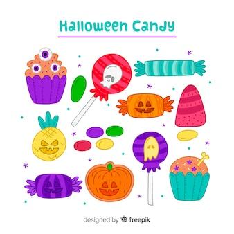 Hand getekend kleurrijke halloween snoep collectie