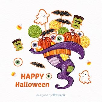 Hand getekend kleurrijke halloween snoep tas achtergrond
