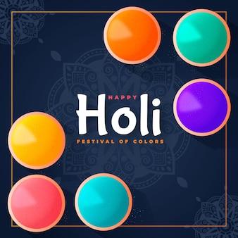 Hand getekend kleurrijke holi gulal illustratie