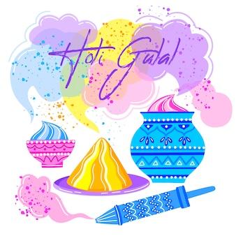 Hand getekend kleurrijke holi gulal