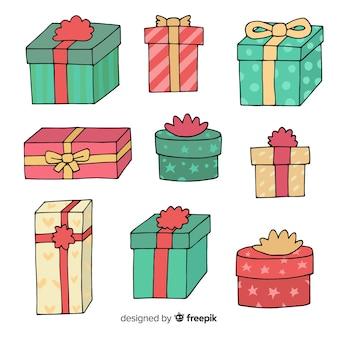 Hand getekend kleurrijke kerst geschenkdozen collectie