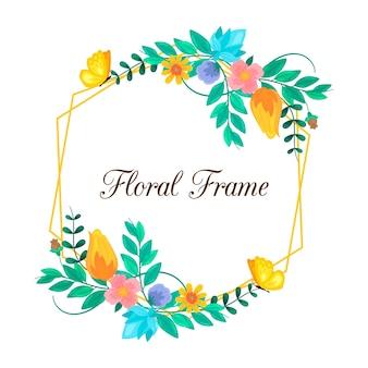 Hand getekend kleurrijke lente bloemen frame met bladeren