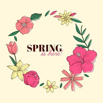 Hand getekend kleurrijke lente frame met bloemen en bladeren