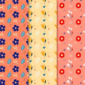 Hand getekend kleurrijke lente patroon set