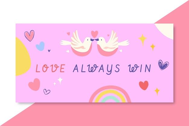 Hand getekend kleurrijke liefde blog koptekst