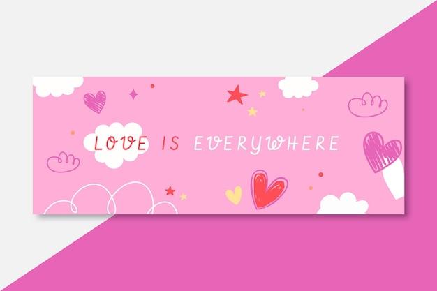 Hand getekend kleurrijke liefde facebook omslag