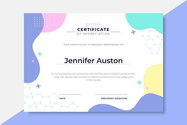 Hand getekend kleurrijke medische certificaten